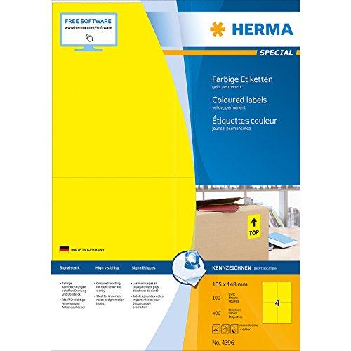 Herma 4396 Farbetiketten (105 x 148 mm, Format DIN A6 auf DIN A4 Papier matt) 400 Stück auf 100 Blatt, gelb, bedruckbar, selbstklebend