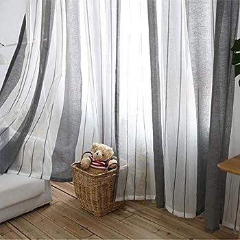 Never-hu Rideaux Voilage à Oeillets Voilage Blanc et Gris Voile Fenêtre  Transparent Voilage en Lin Salon Chambre 100 250cm