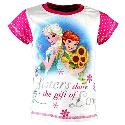 Disney Frozen Die Eiskönigin T-Shirt, Original Lizenzware, weiß/pink, Gr. 116 (Anna Frozen Shirt Kleinkind)