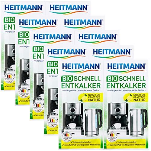 Heitmann BIO Schnell-Entkalker: Natürlicher Universalentkalker für Kaffeemaschinen, Wasserkocher, Eierkocher, 2 x 25 g, 5er Pack
