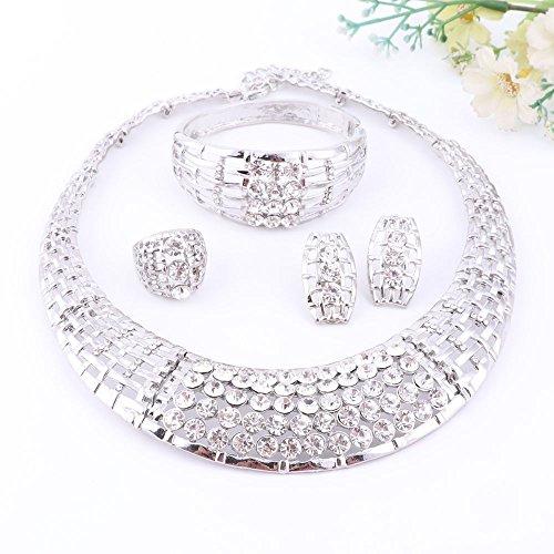 Fashion Jewelry Set Collier Bracelet Boucles d'oreille plaqué or Femme Africaine (Blanc) Silver
