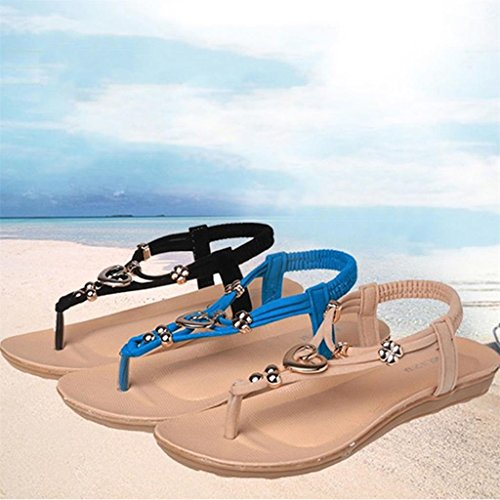 Donna Ragazza Di Scarpe Della Moda Boho Sandalo Comoda Estate Basse Spiaggia Infradito Beige qqpHIw