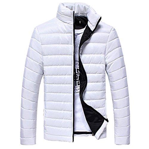 VEMOW Winter Männer Baumwolle Stehen Reißverschluss Warme Mantel Casual Sport Freizeit Lose Dicke Jacke Daunenjacke(B-weiß, EU-46/CN-M)