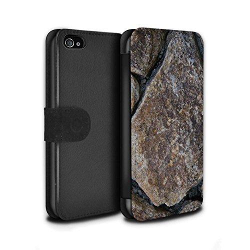 Stuff4 Coque/Etui/Housse Cuir PU Case/Cover pour Apple iPhone 4/4S / Cailloux des Plages Design / Pierre/Rock Collection Grand Mur de Pierres