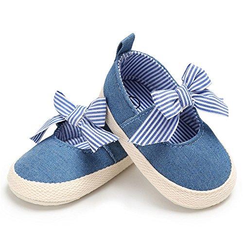 Estamico Baby Mädchen Leinwand Striped Bowknot Prinzessin Schuhe Mary Jane Krabbelschuhe Blau