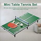 wisedwell Mini Tischtennis Platte, Kinder Tischtennisplatte Holz Tischspiel Schläger + Bälle + Netz