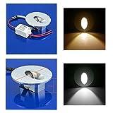 6er LED 230V SET Wandleuchte Treppenbeleuchtung 1W Treppenlicht Stufe Rund (warmweiß)