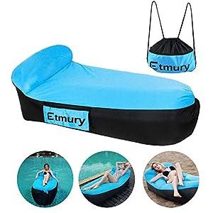 Sofa Hinchable con almohada integrada y bolsa,Etmury tumbona hinchable,sofa inflable, portátil impermeable ligero poliéster aire sofá inflable ocioso,Aire cama Tumbona de playa para viajes,Camping