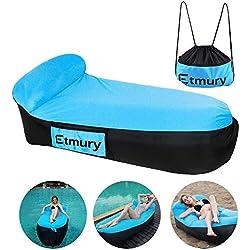 Sofa Hinchable con almohada y bolsa,tumbona hinchable Etmury,sofa inflable,portátil impermeable ligero poliéster aire sofá inflable ocioso,aire cama Tumbona de playa para viajes,piscina,Camping,parque