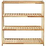 Premier Housewares 4-Tier Wooden Shoe Rack - 80 x 79 x 26 cm, Walnut