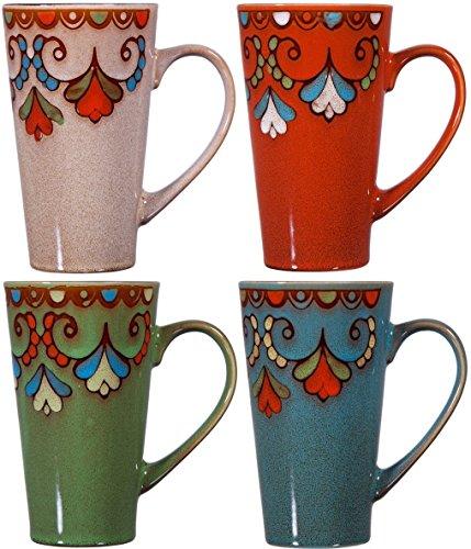 4 Libbey Rock (Colorful Tasty Kaffeebecher aus Keramik mit Griff-Set von 4Keramik Tee Tassen Set-Hoch Keramik Latte Tassen, Set Rim)