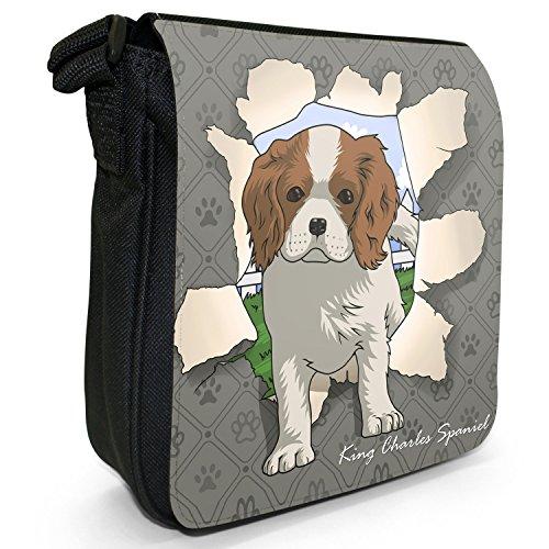 Spezzare cani piccola borsa a tracolla tela nera, misura piccola Spaniel Breaking Through