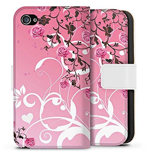 Apple iPhone X Silikon Hülle Case Schutzhülle Rosen Muster Pink Sideflip Tasche weiß
