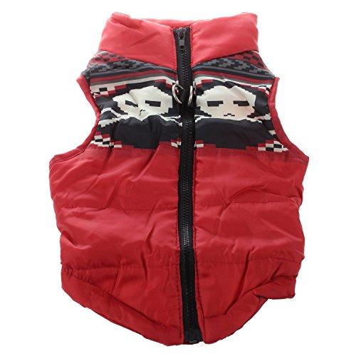 Kleidung - TOOGOO(R)Kleidung fuer die Winterbettdecke Hund Katze Warm Padded Jacket Harness, Rot L