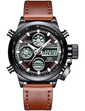 [Gesponsert]Herren Uhren Militär Sport Wasserdichte Chronograph Analog Digital Groß Armbanduhr Männer Dual Display LED Licht...