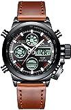 Orologio sportivo da uomo, analogico e digitale, militare, impermeabile, con funzione allarme, cronometro, LED, multifunzione, orologio con cinturino in vera pelle marrone
