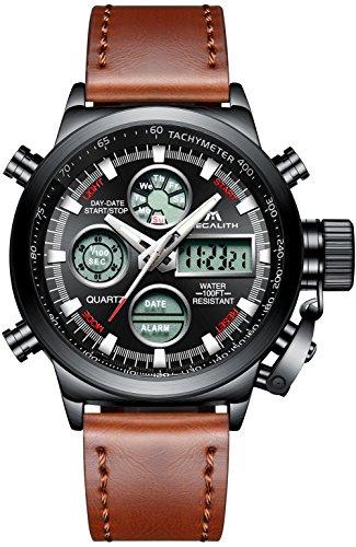 Herren Uhren Militär Sport Wasserdichte Chronograph Analog Digital Groß Armbanduhr Männer Dual Display LED Licht Stoppuhr Shock Resistant Casual Armbanduhren mit Braun Echtes Lederband