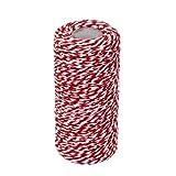 Aofocy Cuerda de algodón Hecha a Mano Cinta Cuerda Cuerda Cuerda Cuerda decoración Rojo y Blanco 100M
