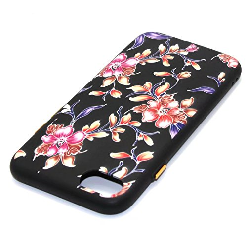iPhone 7 Plus Case,August 3D Emboss Pattern Flower TPU Soft Case Rubber Silicone Skin Cover for iPhone 7 Plus A5