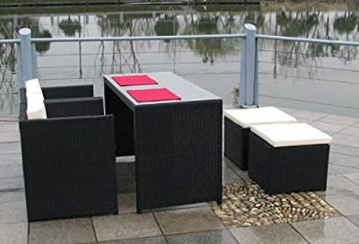 Polyrattan Balkonmöbel Set CATANI Essgruppe mit Hockern und Sessel schwarz