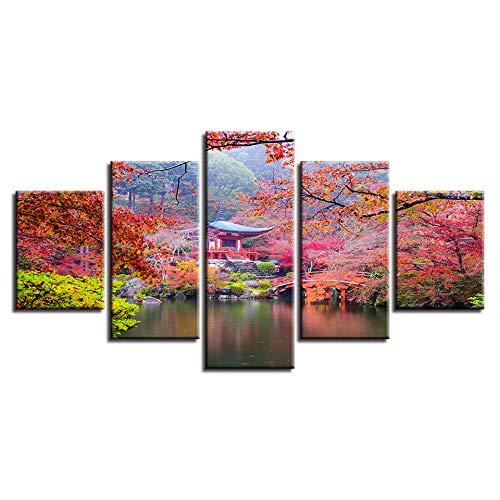 SILUYU,Retro Schöne Landschaft Modern Printed Decor Wohnzimmer Wandkunst 5 Stücke Pavillon Tree Lake Leinwand Malerei Modular,Gerahmt,Größe:L/150×80Cm