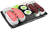 SUSHI SOCKS BOX - 3 pairs Tuna and Salmon Nigiri Cucumber Maki - Funny GIFT! Original Pattern, COTTON RICH Soc