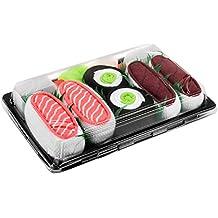 Sushi Socks Box 3 paires de Sushi CHAUSSETTES en Coton: Saumon Thon Nigiri Concombre Maki - CADEAU CRÉATIF, Tailles UE: 36-40, 41-46| Bonne qualité - Certifié OEKO-TEX, fabriqué dans l'UE