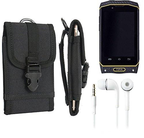 K-S-Trade Schutzhülle für Cyrus CS 19 Gürteltasche Gürtel Tasche extrem robuste Handy Schutz Hülle Tasche Outdoor Handyhülle schwarz 1x + Kopfhörer