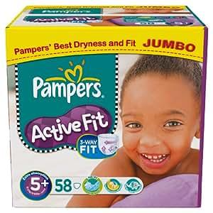 pampers active fit taille 5 junior jumbo lot 58. Black Bedroom Furniture Sets. Home Design Ideas