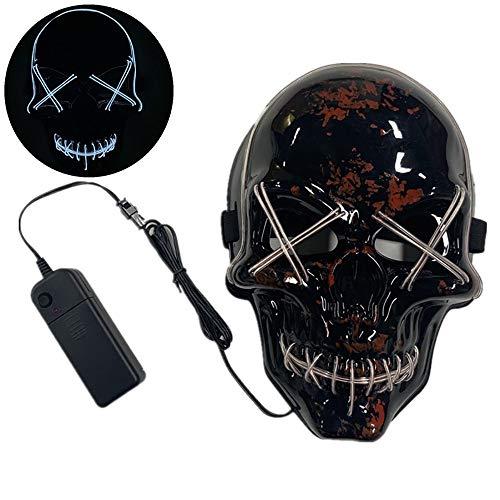 TongNS1 LED Halloween Maske Schädel Maske Rolle Dress up Kleidung Requisiten EL kaltlicht Maske,Kunststoff Multicolor Auswahl,geeignet für kostüm Party Cosplay Weihnachten Karneval (Alte Kostüm Mit Kunststoff Maske)