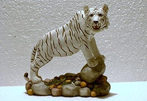Tiger Katze Tigerfigur weiss Skulptur Deko Tier Figur Statue abstrakt