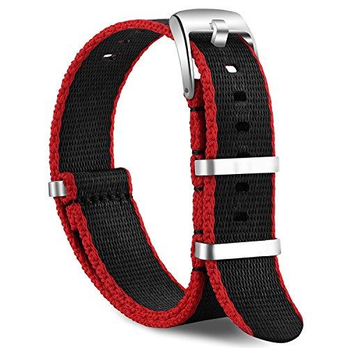 OLLREARUnisexNylonUhrenarmbänder Edelstahl Silberne Schnalle 20mm Black&Red