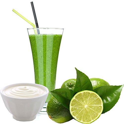 Joghurt Limette Geschmack Eiweißpulver Milch Proteinpulver Whey Protein Eiweiß L-Carnitin angereichert Eiweißkonzentrat für Proteinshakes Eiweißshakes Aspartamfrei (200 g)