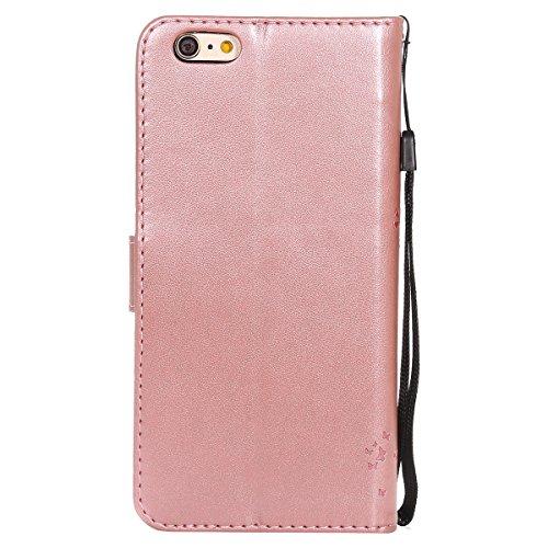 iPhone 6s Ledertasche, iPhone 6 Wallet Case, Lifetrut [Kitty Katze] Geprägte Design Flip Folio Leder Brieftasche Hülle Handyhülle für iPhone 6s 6 [Grün] E203-Rose Gold