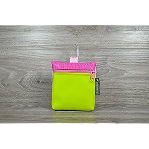 Edelzosse Leckerlitasche Apfelgrün-Pink Kunstleder