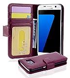 Cadorabo Hülle für Samsung Galaxy S7 - Hülle in Bordeaux LILA – Handyhülle mit 3 Kartenfächern - Case Cover Schutzhülle Etui Tasche Book Klapp Style