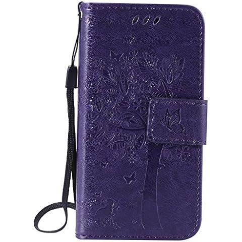 SZYT Handyhülle Handy-Smartphone Hülle Tasche für Apple iPhone 5 / 5S / SE / 5Se, 4.0 Zoll, Impressum Muster Katze und Baum mit schwarzem Griff Lila