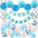 Ohigh GeburtstagsdekoJunge Blau Happy Birthday Girlande Pompoms Luftballons Spiralen Geburtstag deko Set