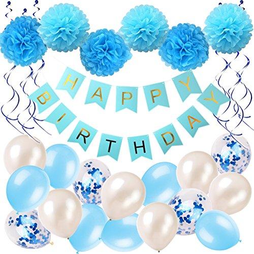 Ohighing GeburtstagsdekoJunge Blau Happy Birthday Girlande Pompoms Luftballons Spiralen Geburtstag deko Set