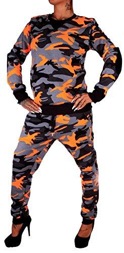 Damen Jogging-Anzug Neon Camouflage 794 (L-fällt groß aus, Orange Camouflage) (Power-kinder Hoodie)