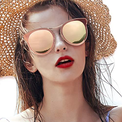 LVIOE Klassisch Retro Katzenauge Damen Polarisiert Sonnenbrille UV400-Schutz Mode Verspiegelt Brillen (Gold/Rosa)