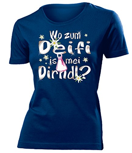 Wo zum deifi is MEI Dirndl 1280 Oktoberfest Outfit Artikel Fasching Kostüm T Shirt verkleidung Wiesn Frauen Damen Mädchen Geschenk Navy (Lustige Kostüm Ideen Für Frauen)