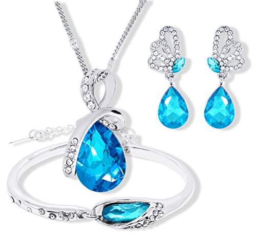Hosaire Fashion Necklace Earrings Bracelet Tears of Angels Diamond Crystal Elegant Women Jewellery Set of Crystal Pendant Necklace+Earrings+Bracelet (Blue)