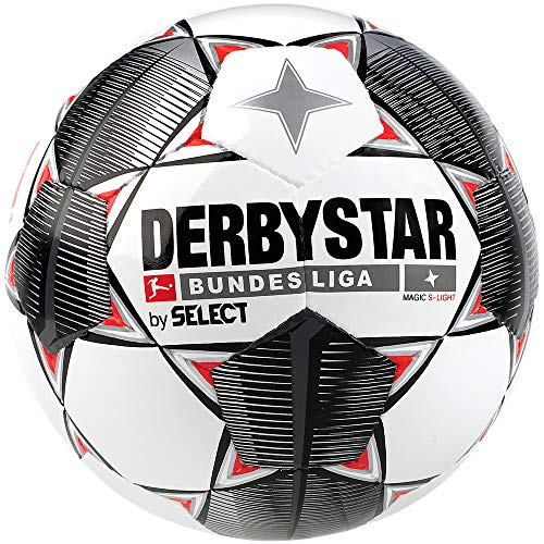 Derbystar Kinder Bundesliga Magic S-Light Fußball, weiß schwarz rot, 4 -