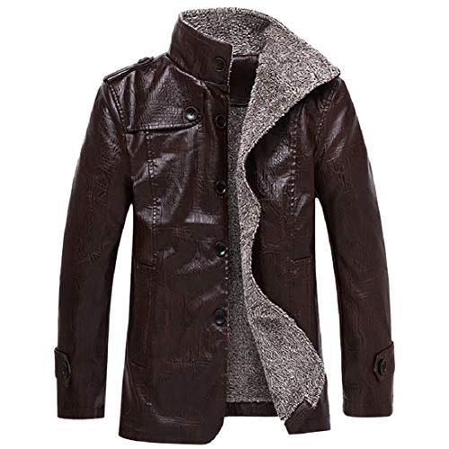 TWBB Herren Bekleidung Winter PU Warme Kunstleder Pullover Mantel Outwear Oberteile Mit Button