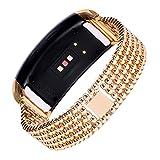 Cinturino in acciaio INOX, Happytop Classic Wristband cinturino orologi da polso di ricambio per Samsung Gear FIT2sm-r360, Uomo, Gold, S
