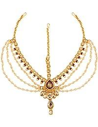 Vidhya Kangan Green Stone Studd-Gold Platted brass mang tikka borla head piece bridal