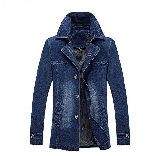 Abrigo vaquero de los hombres, más el tamaño de la ropa de moda casual delgada Cómoda chaqueta de solapa Los bolsos de manga larga de los negocios de primavera y verano ( Color : 1 , tamaño : XXXXL )