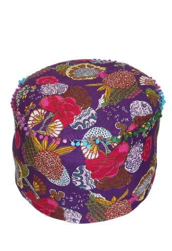 Coperchio Ottoman Cover etnico viola rotonda indiano Pouffe frutta cotone