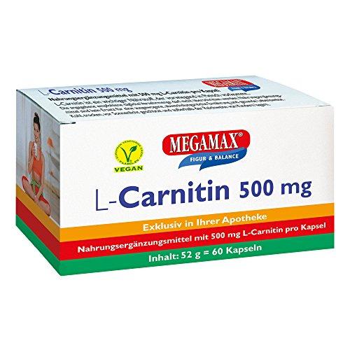 MEGAMAX L-Carnitin 500 mg 60 Kapseln   Ideal für das Figur-Training   Vegan   glutenfrei   Laktosefrei Carnitin   laborgeprüft, Ultra hochdosiert   Zur Nahrungsergänzung bei vegetarischer Ernährung - Sonnenlicht Köln
